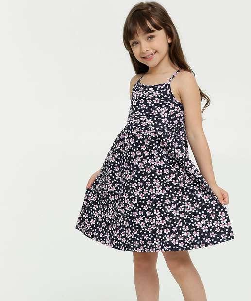 Image_Vestido Infantil Estampa Floral Alças Finas