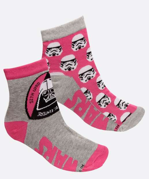 Image_Kit 2 Pares Meias Soquete Feminino Estampa Star Wars Disney