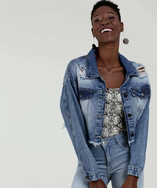 2bb13a453 Jaqueta Feminina Jeans Destroyed Botões Marisa