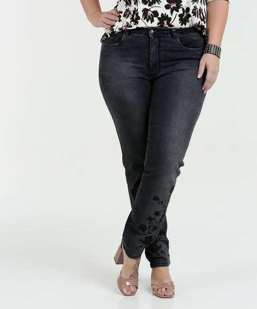 Image_Calça Feminina Jeans Bordado Plus Size Razon
