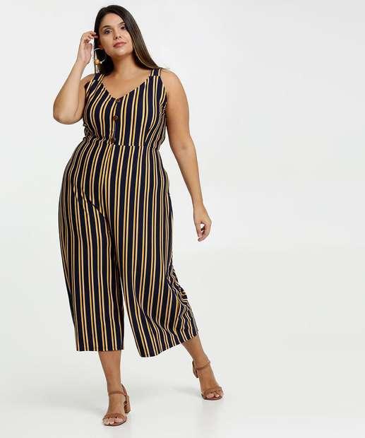 Image_Macacão Feminino Pantacourt Listrado Plus Size Marisa