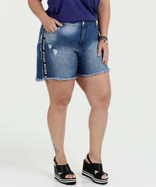 Image_Short Feminino Jeans Puídos Plus Size Razon