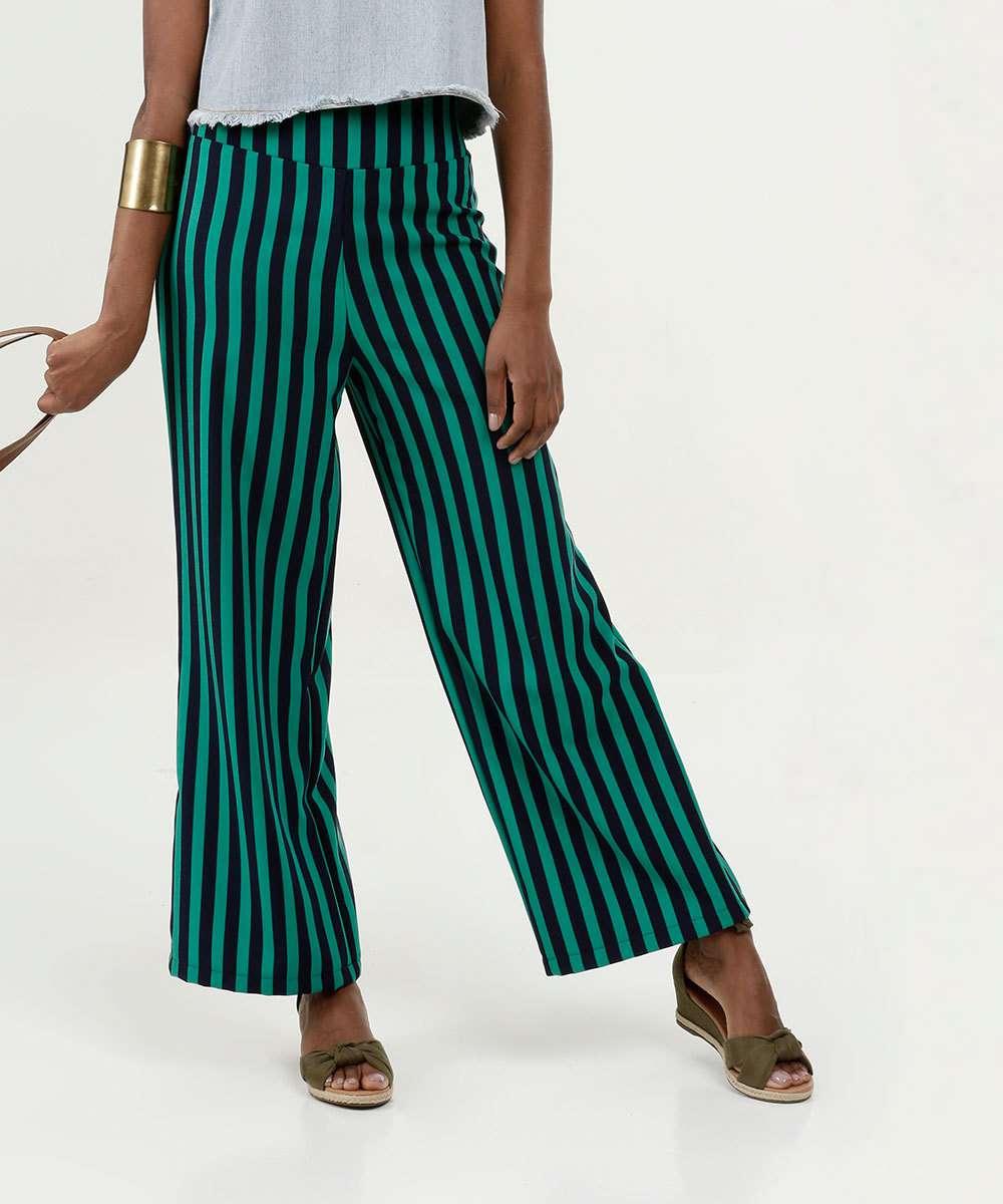Calça Feminina Listrada Pantalona Marisa