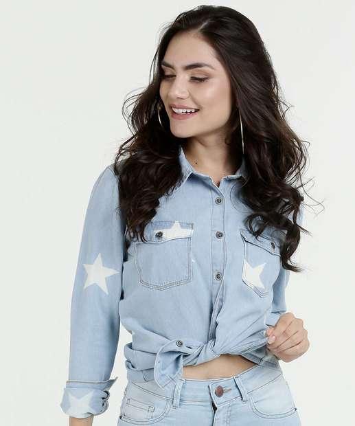 Image_Camisa Feminina Jeans Estampa Estrelas Manga Longa Marisa