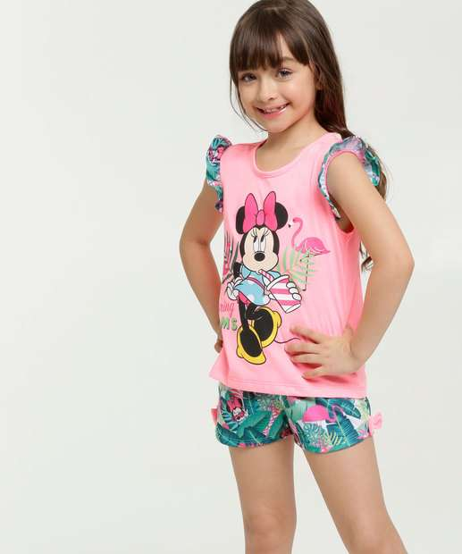 Image_Pijama Infantil Neon Estampa Tropical Minnie Manga Curta Disney