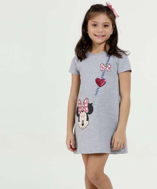 Image_Vestido Infantil Moletinho Estampa Minnie Manga Curta Disney