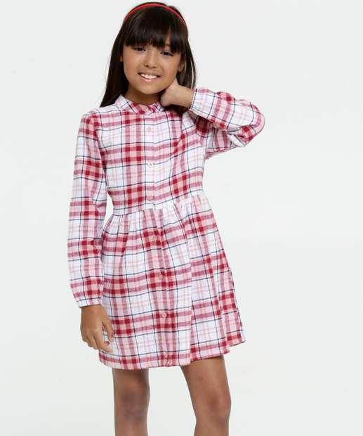 Image_Vestido Infantil Estampa Xadrez Manga Longa Marisa
