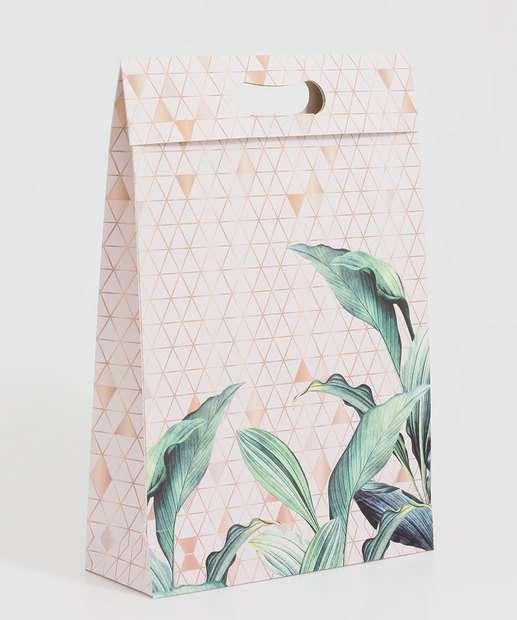 Image_Embalagem Presente Sacola Geométrica Folhas Marisa