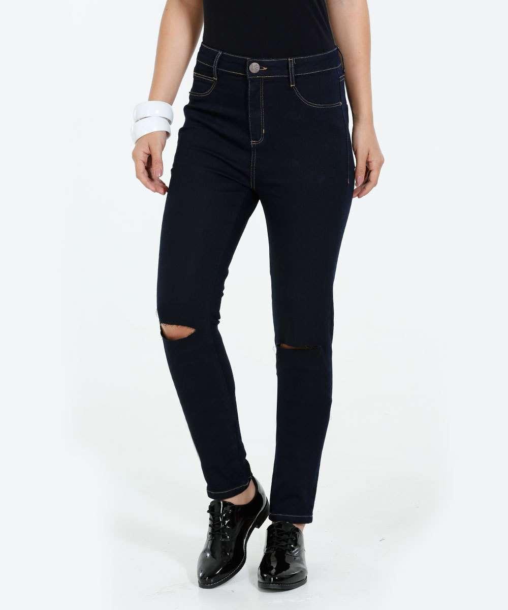 Calça Feminina Jeans Skinny Rasgos Marisa