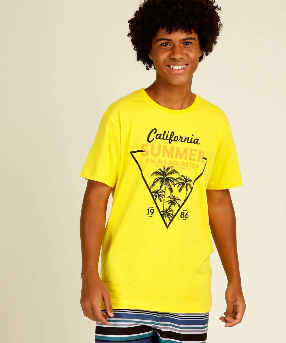 Camiseta Juvenil Manga Curta Estampa Frontal Tropical Tam 10 a 16