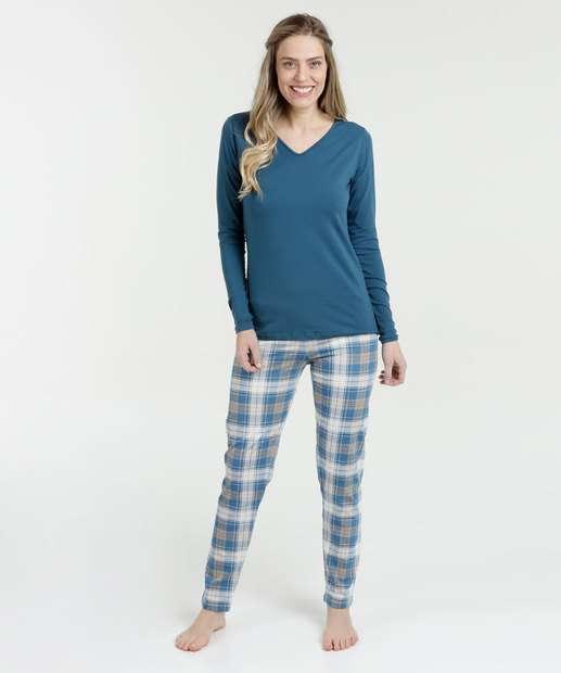 Image_Pijama Feminino Estampa Xadrez Manga Longa Lupo