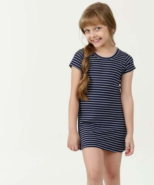 Image_Vestido Infantil Listrado Manga Curta