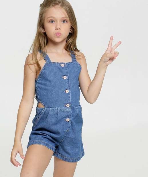 Image_Macaquinho Infantil Jeans Botões Marisa