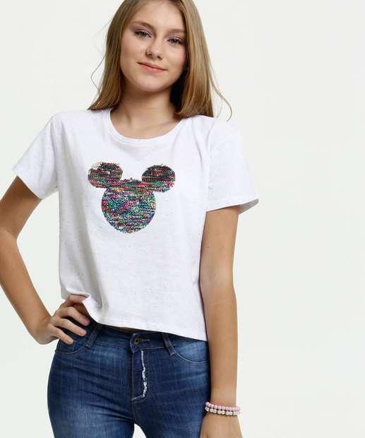Image_Blusa Juvenil Botonê Paetê Mickey Manga Curta Disney