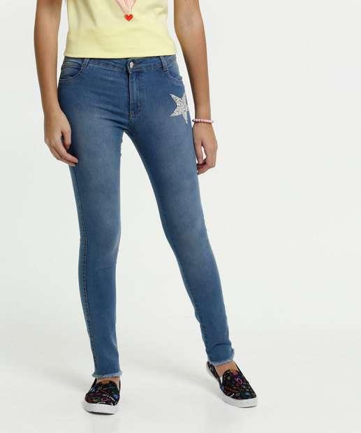 Image_Calça Juvenil Jeans Skinny Estrelas Strass Marisa