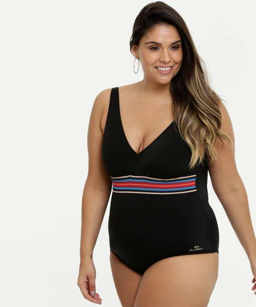 Image_Maiô Feminino Recorte Plus Size Alças Finas Banho de Mar