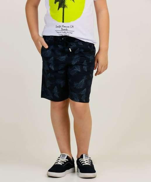 Image_ Bermuda Infantil Sarja Estampa Folhas MR Tam 4 a 10