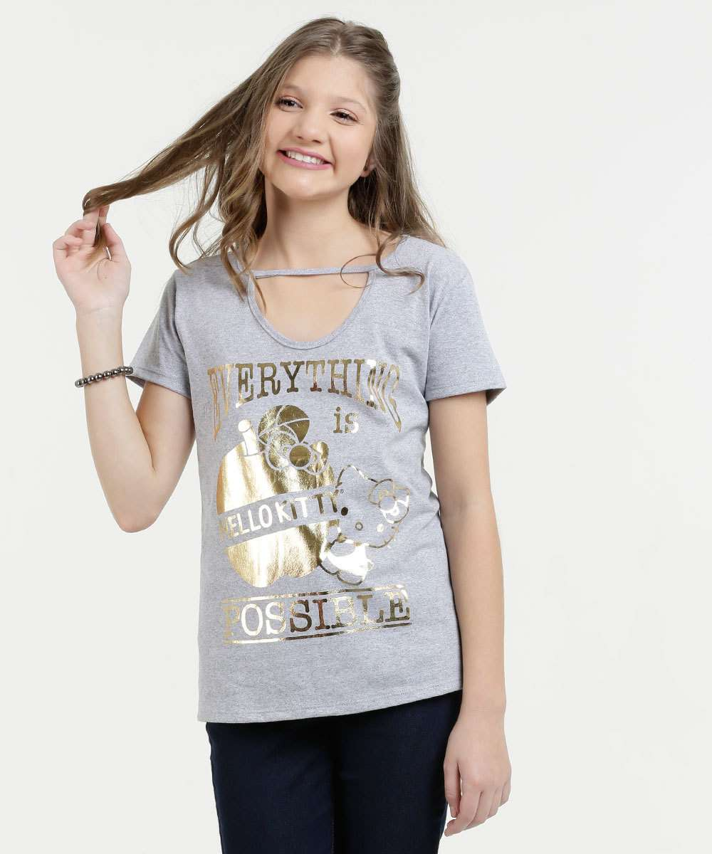 Blusa Juvenil Estampa Foil Hello Kitty Sanrio