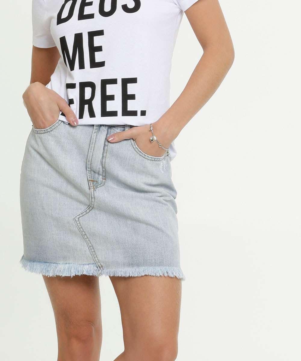 Saia Jeans Feminina Puídos Disparate