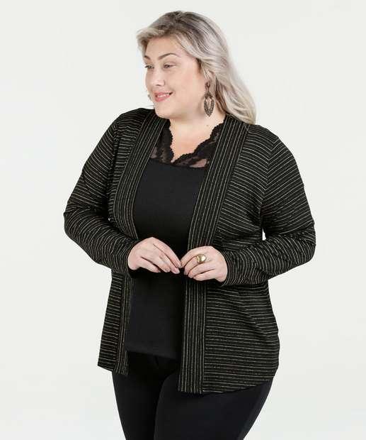 Image_Cardigan Feminino Listrado Lurex Plus Size Luktal