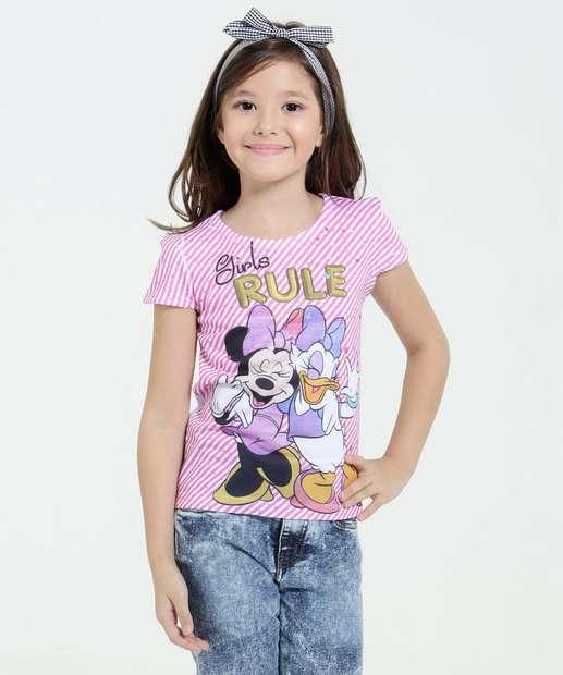 Image_Blusa Infantil Manga Curta Estampa Minnie Margarida Disney