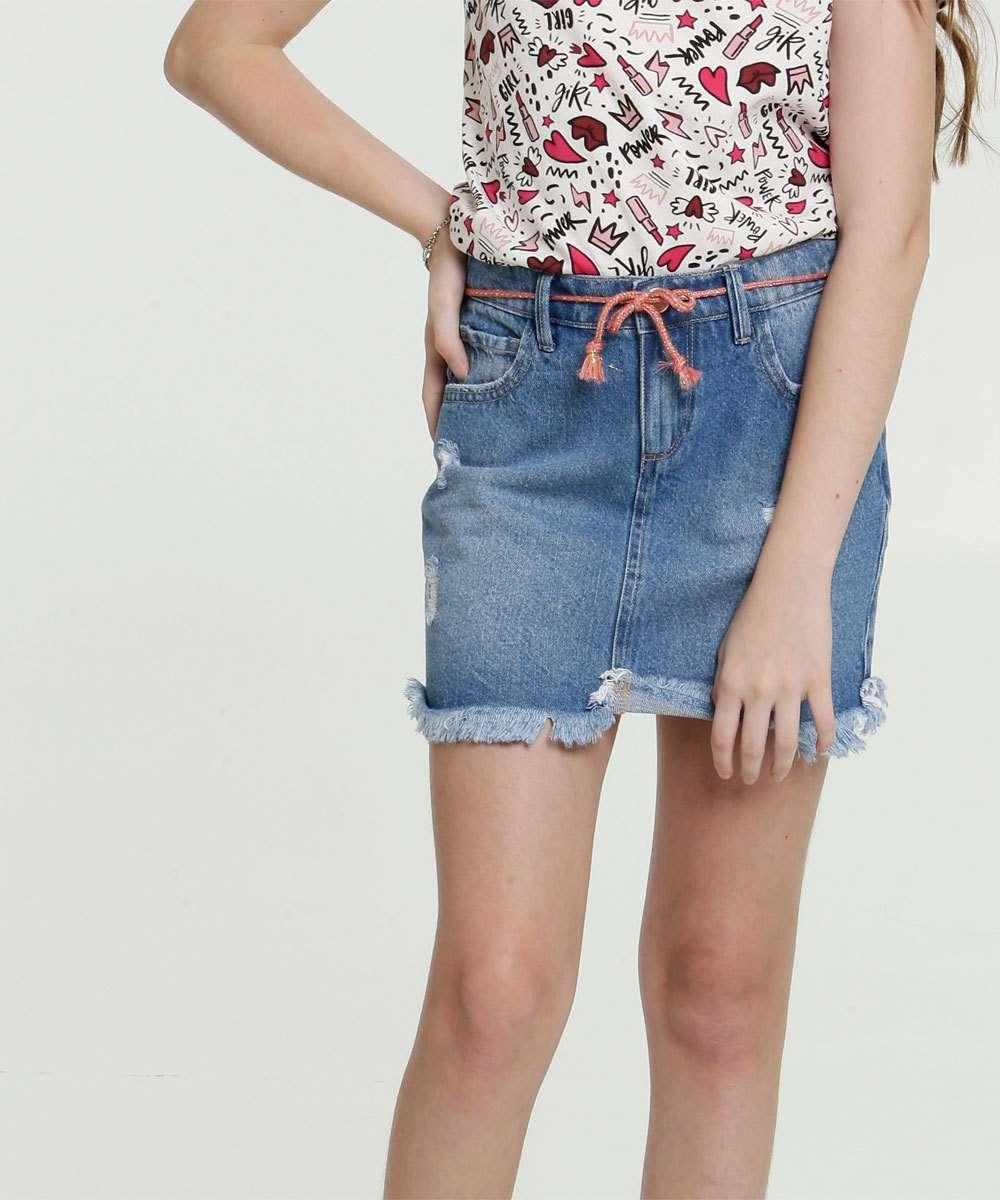 Saia Juvenil Jeans Destroyed Bolsos Marisa