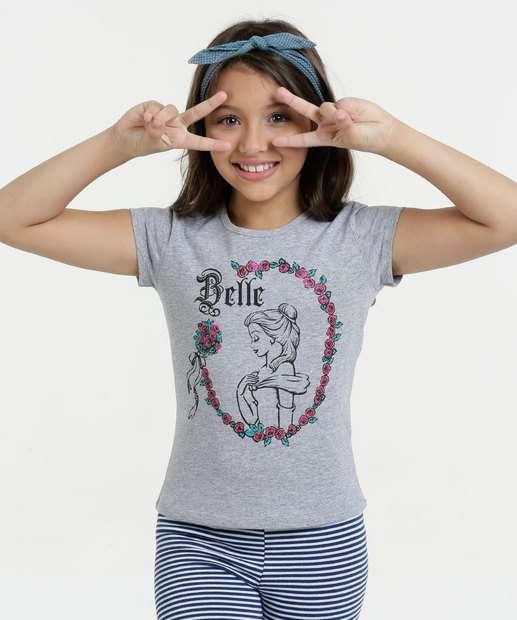 Image_Blusa Infantil Princesa Bela Manga Curta Disney