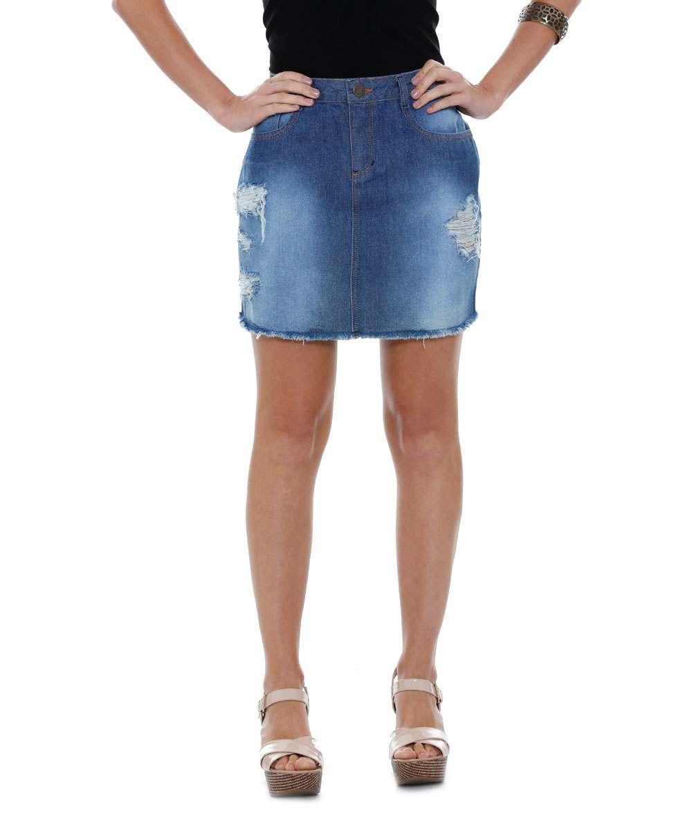 17fd4b3157 Saia feminina jeans rasgos barra desfiada Marisa