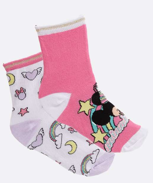 Image_Kit 2 Pares Meias Soquete Infantil Minnie Disney