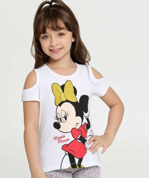 Image_Blusa Infantil Open Shoulder Minnie Manga Curta Disney