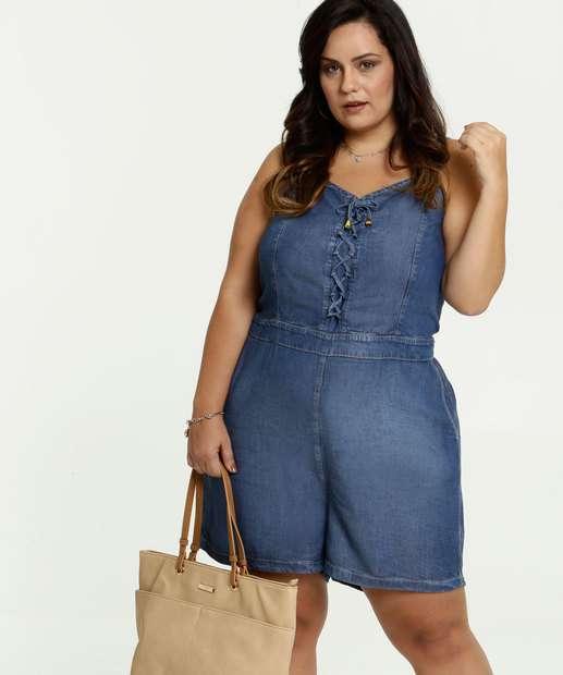 Image_Macaquinho Feminino Jeans Plus Size Alças Finas