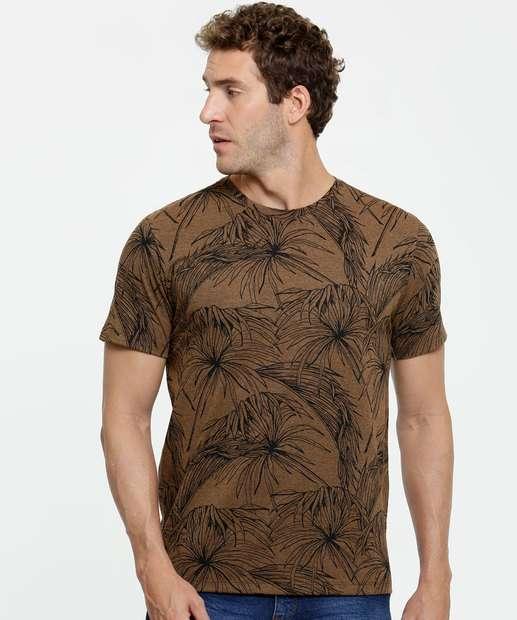 Image_Camiseta Masculina Estampa Folhas Manga Curta MR
