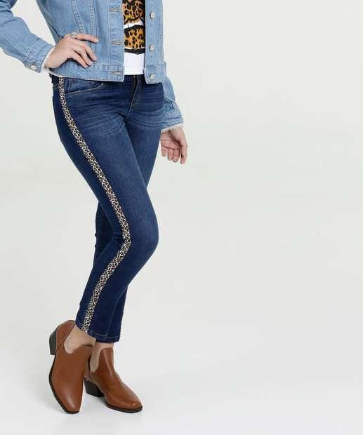 Image_Calça Juvenil Jeans Faixa Animal Print Marisa