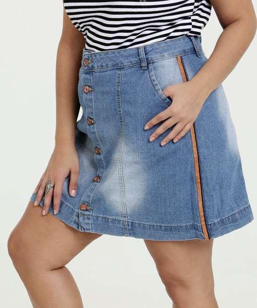 Image_Saia Feminina Jeans Botões Plus Size Razon