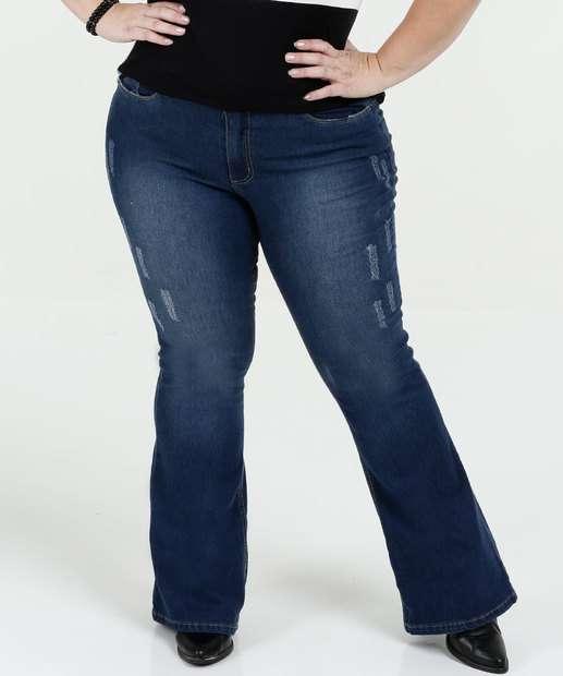 Image_Calça Feminina Jeans Flare Puídos Plus Size Razon
