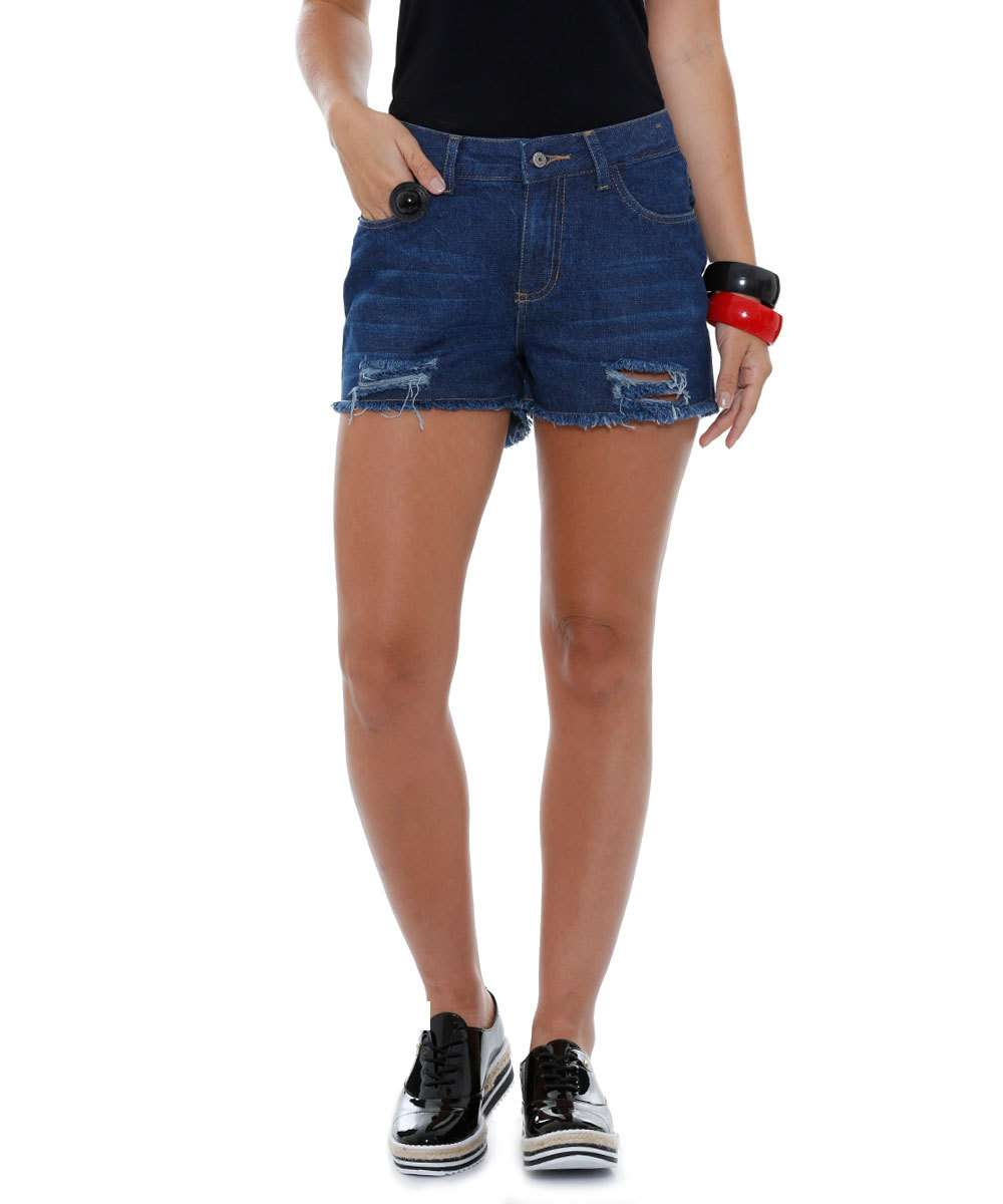 Short Feminino Jeans Destroyed Marisa