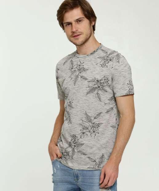 Image_Camiseta Masculina Listrada Floral Manga Curta