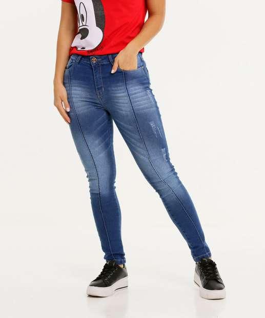 Image_Calça Jeans Puídos Skinny Feminina Bolsos