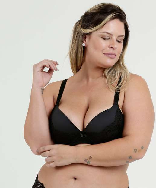 125a8fb7b0 Sutiã Feminino Com Base Recorte Tule Plus Size Marisa