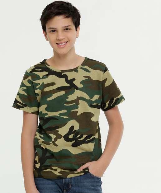 Image_Camiseta Juvenil Estampa Camuflada Manga Curta