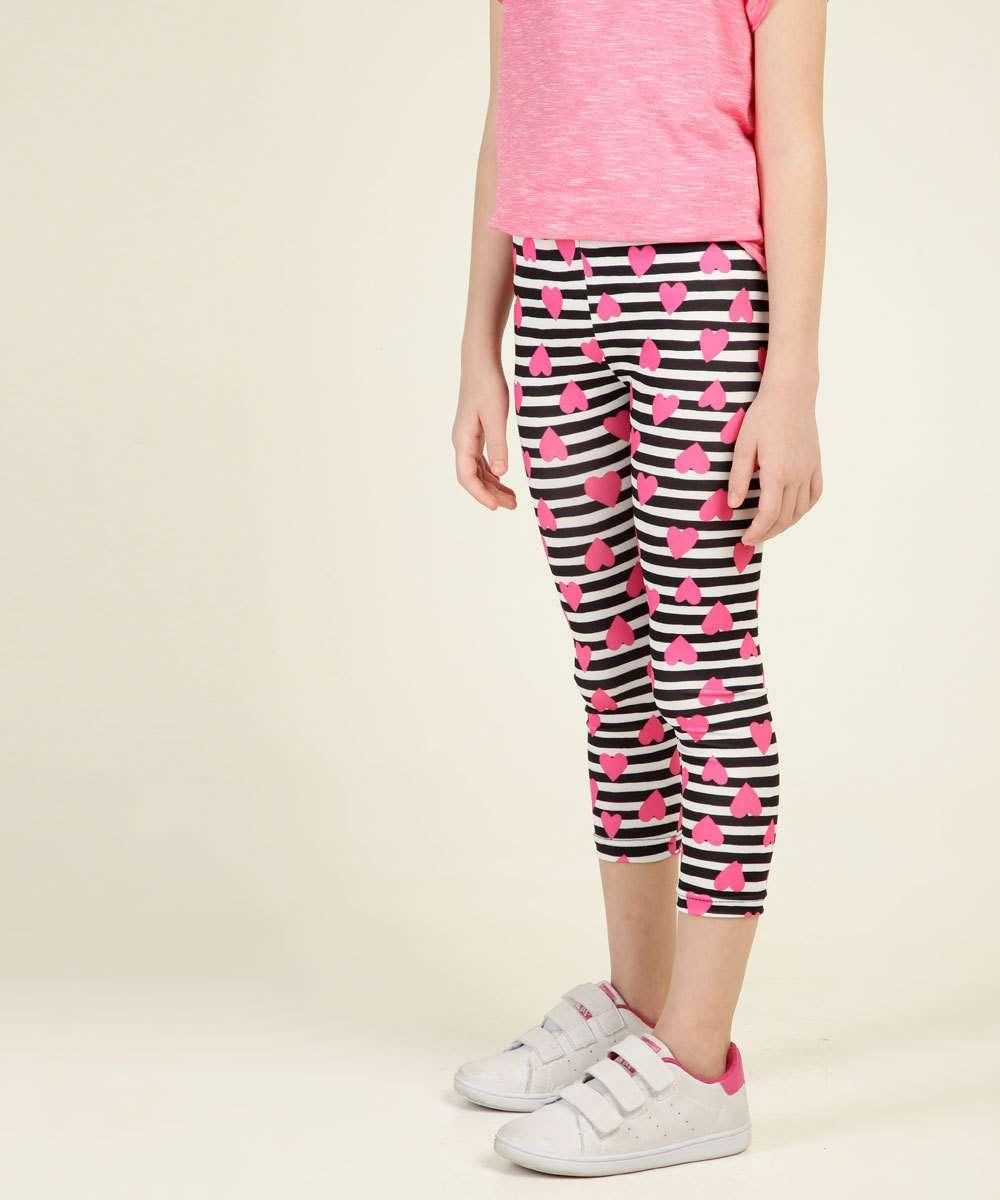 Calça Infantil Legging Estampa Coração Tam 4 a 8