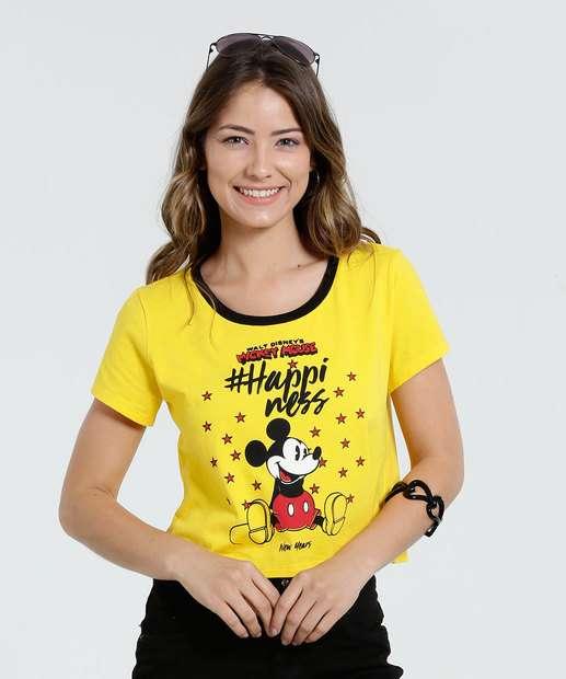 Image_Blusa Feminina Cropped Manga Curta Mickey Disney
