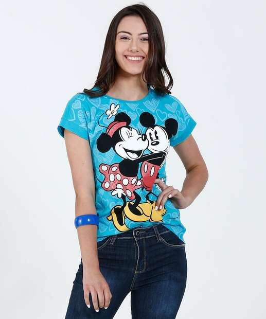 Image_Blusa Juvenil Manga Curta Estampa Mickey Minnie Disney