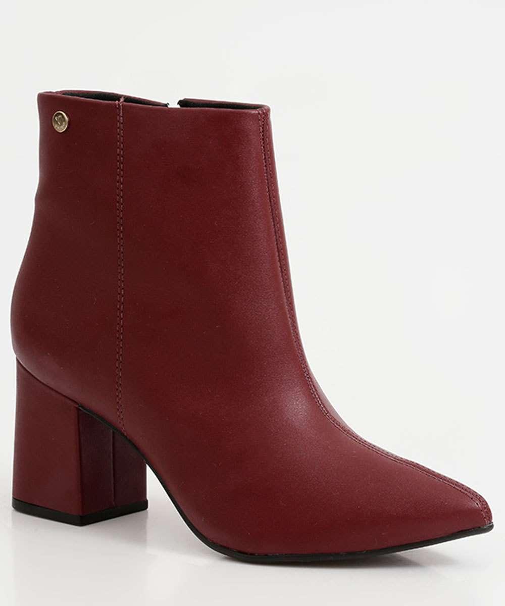 Bota Feminina Ankle Boot Salto Grosso Via Uno