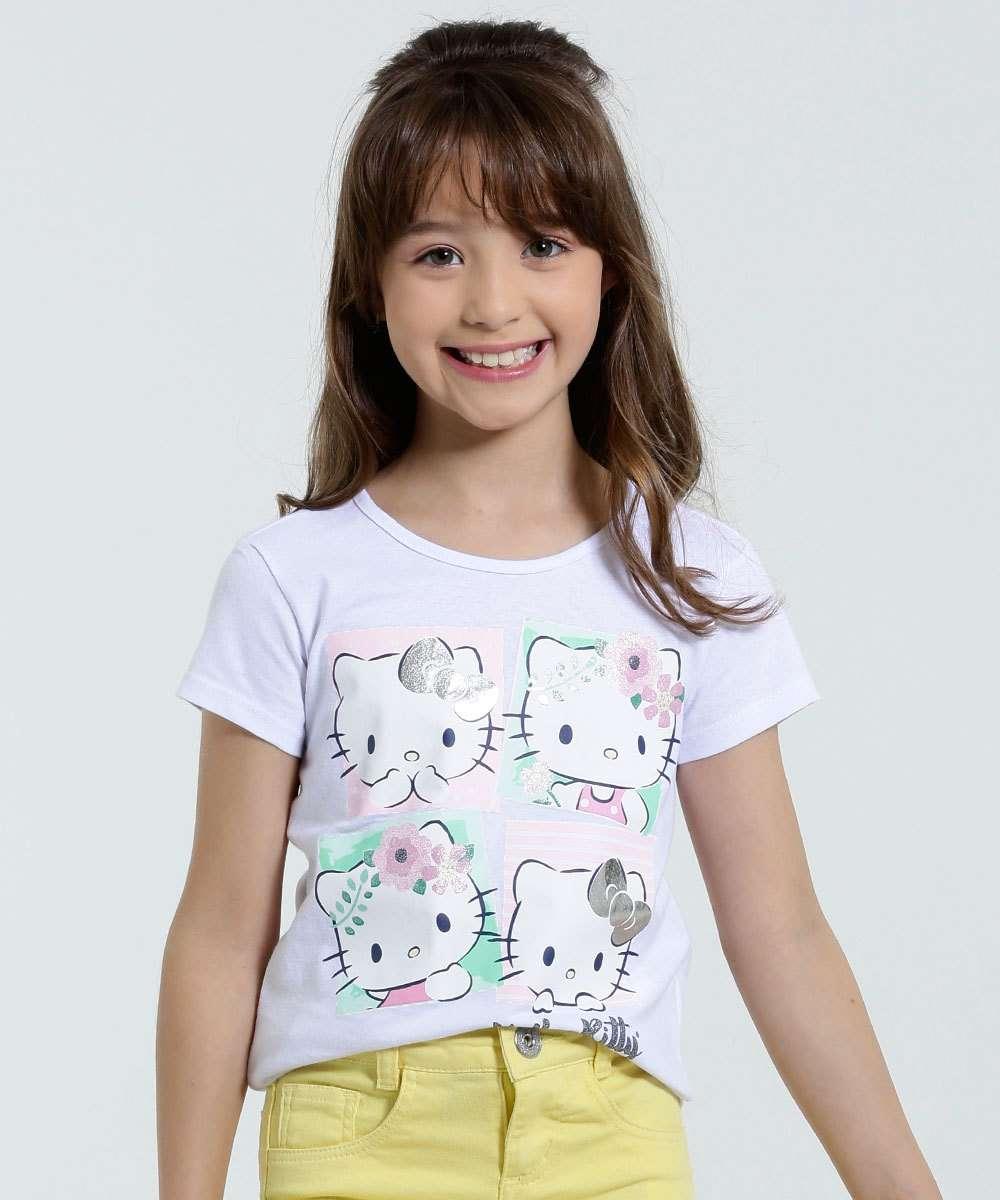 3c2125f41 Blusa Infantil Brilho Estampa Hello Kitty