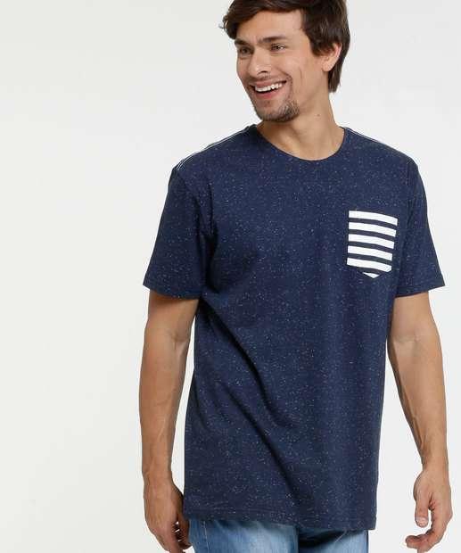 Image_Camiseta Masculina Botonê Bolso Listrado Manga Curta