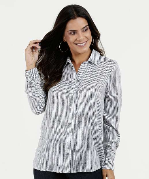 Camisa Feminina Estampa Listrada Botões Manga Longa Marisa 6cbf37e9895dd