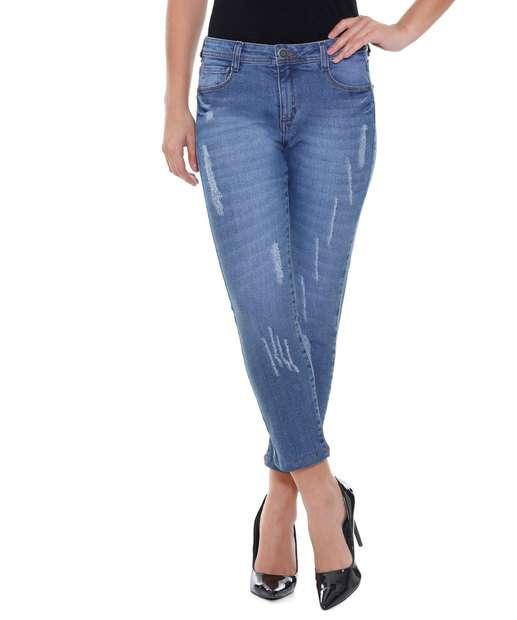 Image_Calça feminina Capri Jeans Puídos Marisa