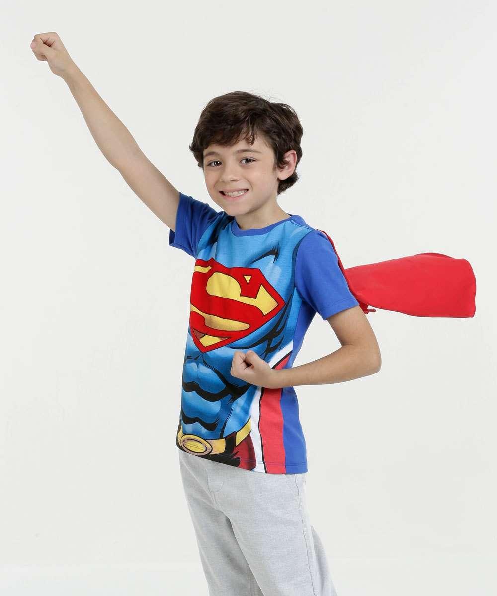 18e90d795 Camiseta infantil Super Homem Manga Curta Liga da Justiça