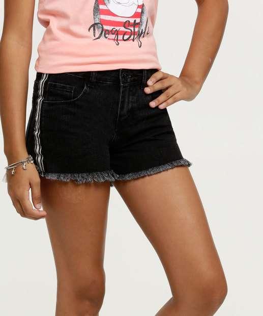 Image_Short Juvenil Jeans Faixas Lurex Barra Desfiada Marisa